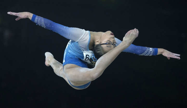 Gold medalist Morgan Hurd of the United States performs her floor exercise during the women's individual all-around final at the Artistic Gymnastics World Championships Friday, Oct. 6, 2017 in Montreal. (Paul Chiasson/The Canadian Press via AP)