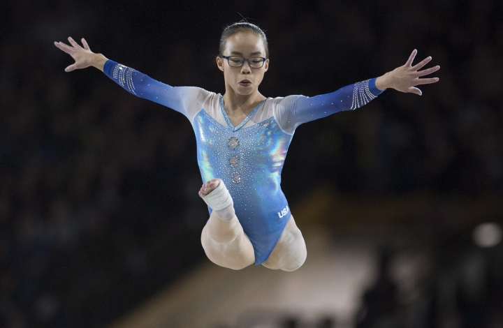 Gold medalist Morgan Hurd, of the United States, performs her routine on the balance beam in the women's individual all-around final at the artistic gymnastics world championships Friday, Oct. 6, 2017, in Montreal. (Paul Chiasson/The Canadian Press via AP)