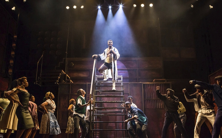 """CORRECTS SOURCE - In this photo provided by the Fugard Theatre taken on Monday, Oct. 2, 2017 the cast perform in a production of """"King Kong"""" in Johannesburg. The rise and fall of a black South African boxer known as """"King Kong"""" inspired a 1959 musical whose black cast performed for multi-racial audiences, testing the apartheid system of that era and attracting Nelson Mandela to its opening night. Now the musical that helped to propel the global careers of singer Miriam Makeba and trumpeter Hugh Masekela is back on the stage. (Daniel Rutland Manners/ Fugard Theatre via AP)"""