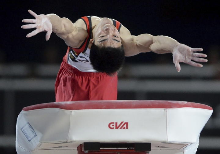 Kenzo Shirai, of Japan, performs his routine during the vault portion of the Artistic Gymnastics World Championships in Montreal, Sunday, Oct. 8, 2017. (Ryan Remiorz/The Canadian Press via AP)
