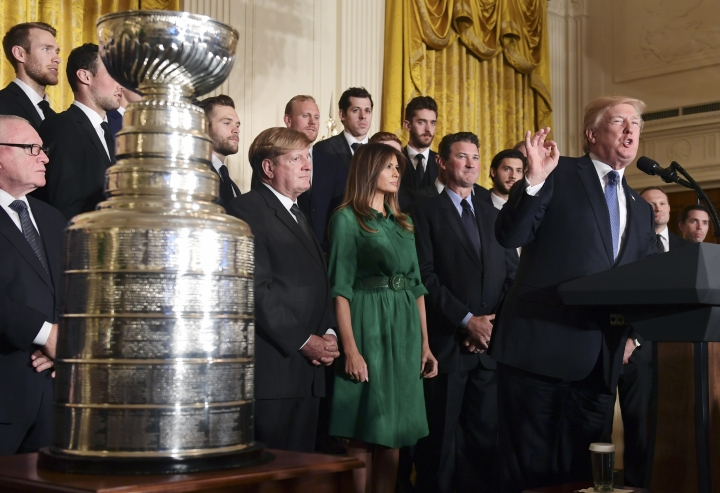 President Donald Trump speaks during a ceremony to honor the 2017 NHL Stanley Cup Champion Pittsburgh Penguins, Tuesday Oct. 10, 2017, in the East Room of the White House in Washington. (AP Photo/Susan Walsh)