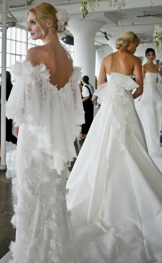 Bridal fashion from Marchesa is modeled during a presentation Oct. 5, 2017, in New York. (AP Photo/Bebeto Matthews)