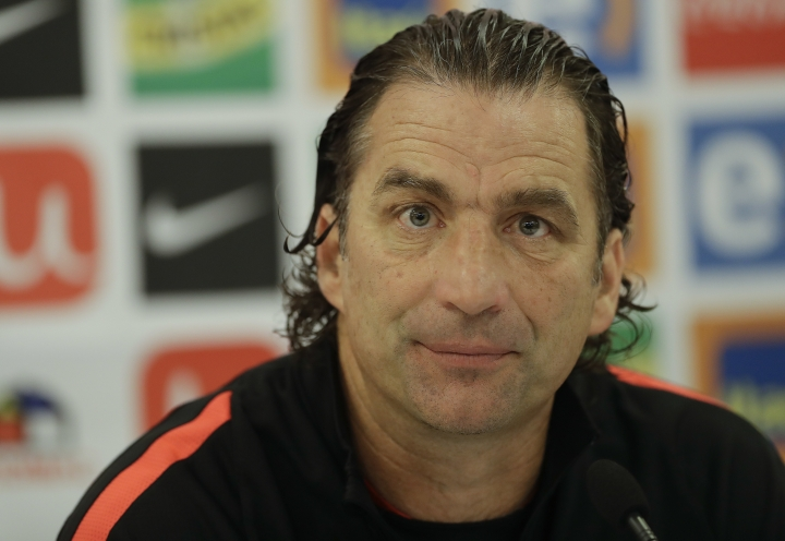 Chile' coach Juan Antonio Pizzi attends a press conference in Sao Paulo, Brazil, Monday, Oct. 9, 2017. Chile will face Brazil in a 2018 World Cup qualifying soccer match on Oct. 10. (AP Photo/Andre Penner)