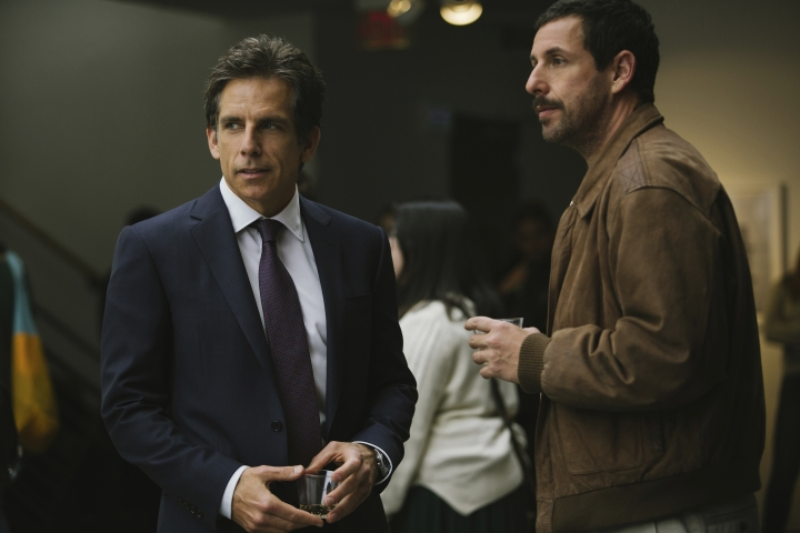 """This image released by Netflix shows Ben Stiller, left, and Adam Sandler in a scene from, """"The Meyerowitz Stories."""" (Atsushi Nishijima)"""