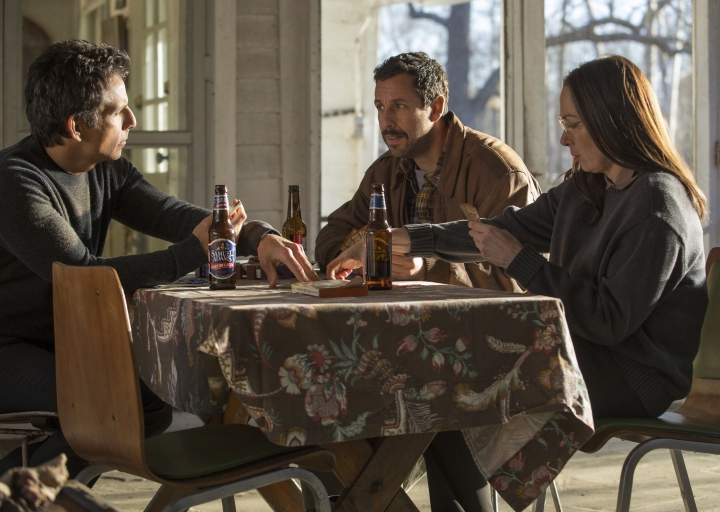 "This image released by Netflix shows, from left, Ben Stiller, Adam Sandler and Elizabeth Marvel in a scene from, ""The Meyerowitz Stories."" (Atsushi Nishijima/Netflix via AP)"