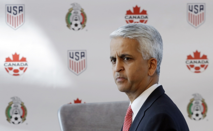 FILE - In this April 10, 2017, file photo, Sunil Gulati, President of the United States Soccer Federation, attends a news conference in New York.A bumbling, stumbling, tumbling qualification campaign ended with a 2-1 loss to an already eliminated Caribbean nation. Now comes the fallout, which almost surely will lead to a new coach and possibly to a new head of the U.S. Soccer Federation. (AP Photo/Mark Lennihan, File)