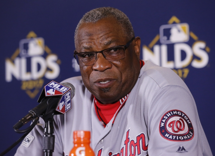 Washington Nationals manager Dusty Baker talks during a news conference after Game 4 of baseball's National League Division Series against the Chicago Cubs, Wednesday, Oct. 11, 2017, in Chicago. The Nationals won 5-0. (AP Photo/Charles Rex Arbogast)