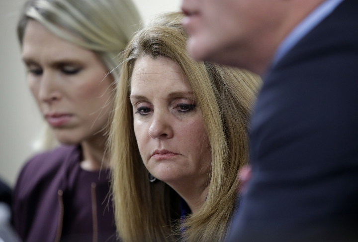 Heather Selken, mother of shooting victim Paige Gasper, attends a news conference, Wednesday, Oct. 11, 2017, in Las Vegas. Gasper was injured in the mass shooting at a country music festival October 1. (AP Photo/John Locher)