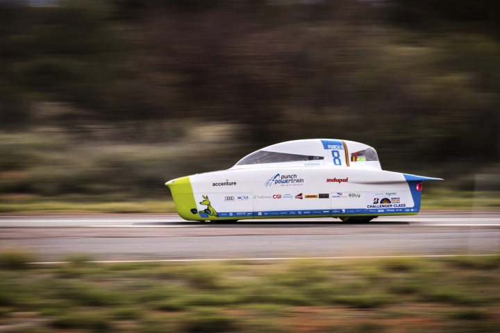 FILE: In this Tuesday, Oct. 10, 2017, file photo, the Punch Powertrain Solar Team car from Belgium competes during the second race day of the 2017 World Solar Challenge in Kulgera, Australia. A Dutch team has won an international solar-powered car race across Australia for a seventh time, with a University of Michigan car likely to take second place in the biennial event. Punch Powertrain came in third. (AP Photo/Geert Vanden Wijngaert, File)