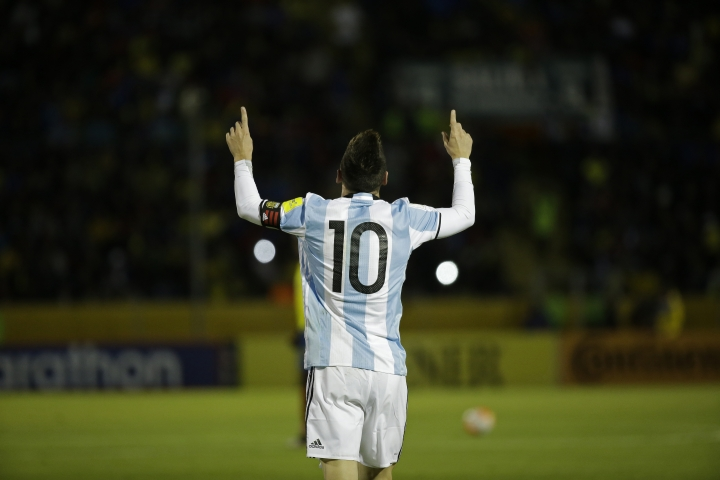 Argentina's Lionel Messi celebrates after scoring against Ecuador during their 2018 World Cup qualifying soccer match at the Atahualpa Olympic Stadium in Quito, Ecuador, Tuesday, Oct. 10, 2017. (AP Photo/Fernando Vergara)