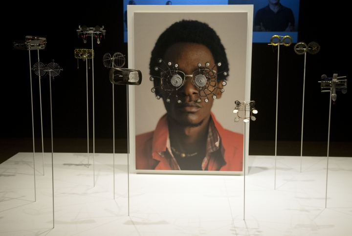 """Wire eyeglasses are shown at the High Museum of Art Wednesday, Oct. 11, 2017, in Atlanta. """"Making Africa: A Continent of Contemporary Design"""" opens Saturday at Atlanta's High Museum of Art. It defines design broadly and delves into the continent's diversity and vibrancy through more than 200 works by more than 120 artists from 22 countries. (AP Photo/John Bazemore)"""