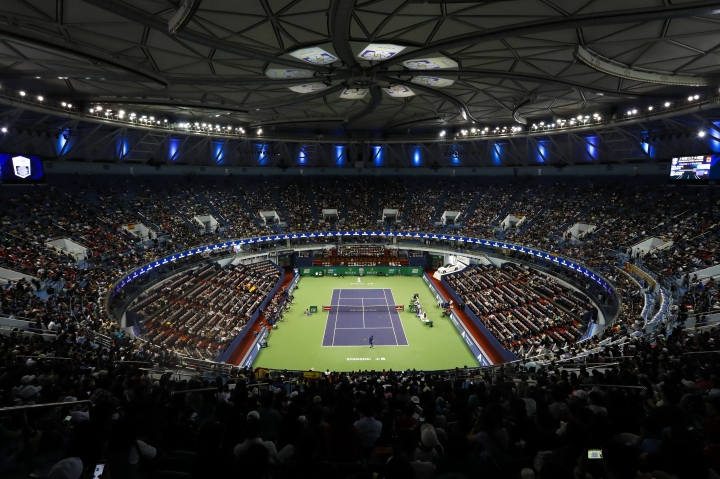 General view of Qizhong Forest Sports City Tennis Center during the men's singles match between Rafael Nadal of Spain and Fabio Fognini of Italy in the Shanghai Masters tennis tournament in Shanghai, China, Thursday, Oct. 12, 2017. (AP Photo/Andy Wong)