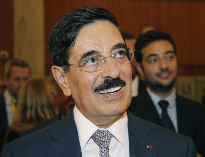 Hamad bin Abdulaziz al-Kawari, Qatar's candidate for the election of the United Nations Educational Scientific and Cultural Organization new leader, smiles at UNESCO headquarters in Paris, France, Wednesday, Oct. 11, 2017. UNESCO's executive board is choosing a new leader to replace departing director Irina Bokova, whose tenure was marred by funding troubles and tension over its inclusion of Palestine as a member. (AP Photo/Michel Euler)