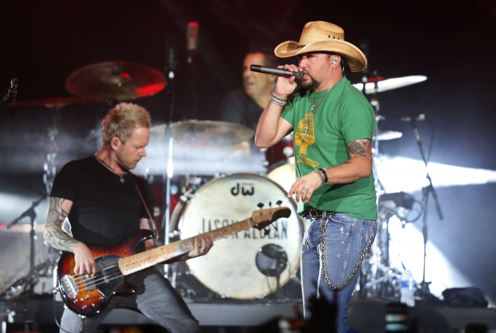 Country star Jason Aldean performs in Tulsa, Okla., Thursday, Oct. 12, 2017. Aldean return to the stage after cancelling tour dates following the Las Vegas shooting. (AP Photo/Sue Ogrocki)