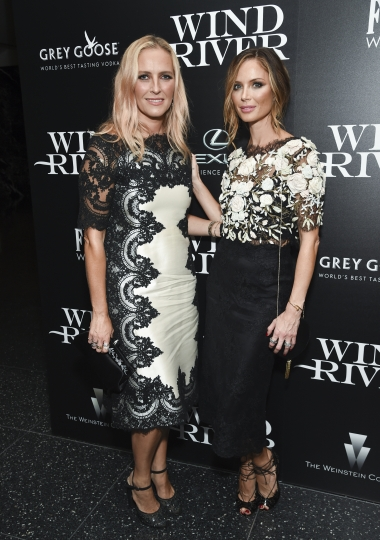 """FILE - In this Aug. 2, 2017 file photo, fashion designers Keren Craig, left, and Georgina Chapman, co-founders of Marchesa, attend a special screening of """"Wind River"""", in New York. A new diamond jewelry deal for Marchesa has been called off in the wake of the Harvey Weinstein scandal. Craig and Chapman, who is married to Weinstein, debuted the 18-piece Helzberg Diamonds licensed line of """"Marchesa Radiant Star"""" engagement rings during a presentation of their latest bridal fashion collection last week. (Photo by Evan Agostini/Invision/AP, File)"""