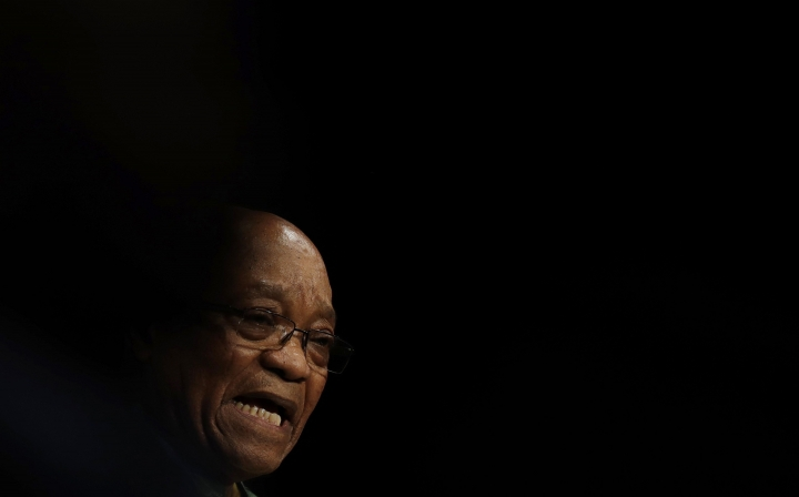 FILE - In this Wednesday, July 5, 2017 file photo, South Africa's ruling party president Jacob Zuma addresses party delegates to close their policy conference in Johannesburg, South Africa. A South African court on Friday Oct. 13, 2017, has dealt a legal blow to Zuma, opening the way to reinstating hundreds of corruption charges against him. (AP Photo/Themba Hadebe, File)