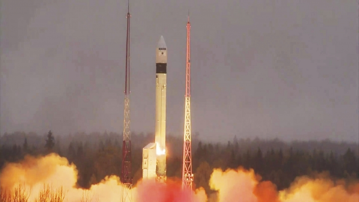 In this photo provided bi the European Space Agency ESA, the atmosphere-monitoring satellite for Europe's Copernicus programme, Sentinel-5P, lifted off from the Plesetsk Cosmodrome in northern Russia Friday, Oct. 13, 2017. A Russian booster rocket on Friday successfully put a European atmosphere monitoring satellite into orbit. The European Space Agency's Sentinel-5P satellite was launched Friday by a Rokot missile from the Plesetsk launch pad in northwestern Russia. The satellite will map the global atmosphere every day, helping study air pollution. (ESA via AP)