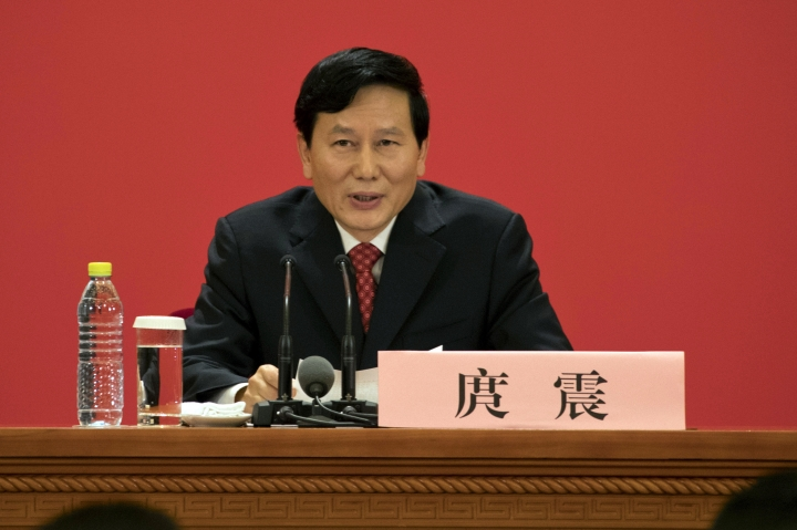 Tuo Zhen, spokesperson for the 19th National Congress of the Communist Party of China speaks during a press conference at the Great Hall of the People in Beijing, China, Tuesday, Oct. 17, 2017. Communists party leaders from across the country have gathered in the Chinese capital for the five yearly Party Congress where Chinese President Xi Jinping is expected to get a second term as party leader. (AP Photo/Ng Han Guan)