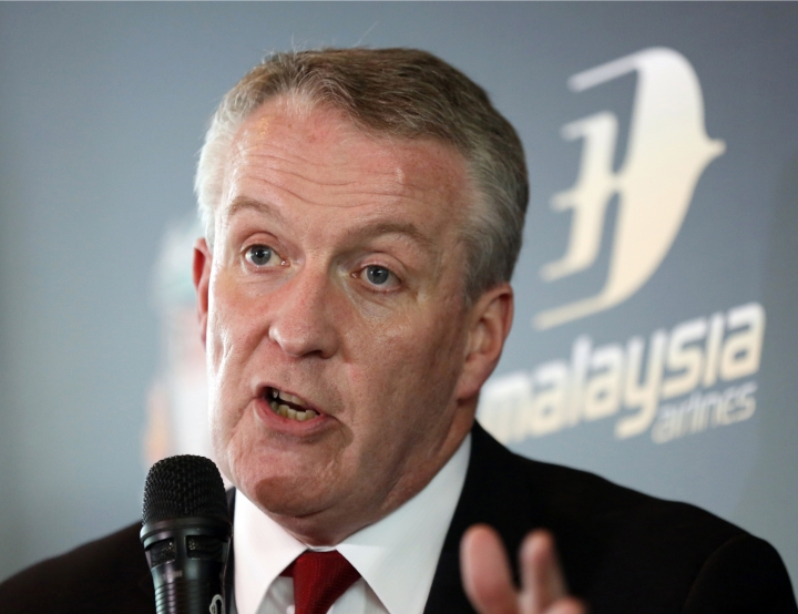 FILE - In this Oct. 11, 2016, file photo, Malaysia Airlines CEO Peter Bellew speaks during a press conference in Kuala Lumpur, Malaysia. Outgoing CEO Bellew said Wednesday, Oct. 18, 2017, he decided to return to Ryanair as a form of national service because the Irish budget airline needed his help. He is the second CEO to quit the Malaysian flag carrier in less than two years. (AP Photo/Lim Huey Teng, File)
