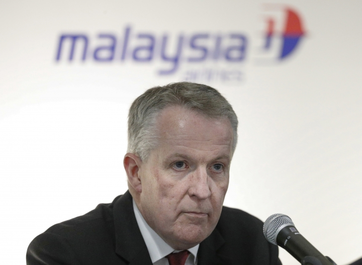 FILE - This July 27, 2016, file photo shows Malaysia Airlines CEO Peter Bellew after a singing ceremony with Boeing in Putrajaya, Malaysia. Outgoing CEO Bellew said Wednesday, Oct. 18, 2017, he decided to return to Ryanair as a form of national service because the Irish budget airline needed his help. He is the second CEO to quit the Malaysian flag carrier in less than two years. (AP Photo/Vincent Thian, File)