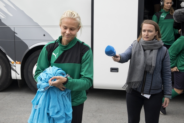 Dutch national soccer team member Pernille Harder passes journalists before training in Dragor, outside Copenhagen on Wednesday Oct 18 2017. A pay dispute involving the Danish women's national team has forced the country's soccer federation to cancel the upcoming Friday World Cup qualifying match against Sweden.(Finn Frandsen/AP via ritzau)
