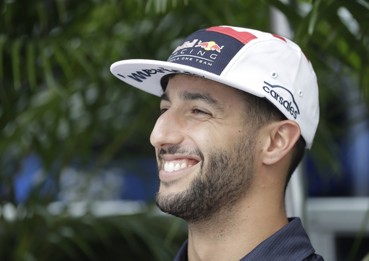 Red Bull driver Daniel Ricciardo, of Australia, smiles during an interview for the Formula One U.S. Grand Prix auto race at the Circuit of the Americas, Thursday, Oct. 19, 2017, in Austin, Texas. (AP Photo/Eric Gay)