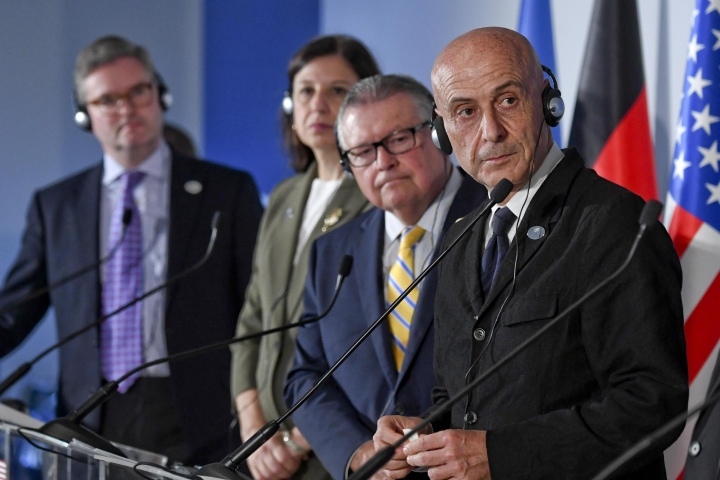 From left, European Commissioner for Security Union Julian King, United States' Secretary of Homeland Security Elaine Duke, Canada's Minister of Public Safety Ralph Edward Goodale and Italy's Minister of Interior Marco Minniti attend the G7 Ministers of the Interiors meeting on the island of Ischia, near Naples, Friday, Oct. 20, 2017. The interior ministers of the G7, two EU commissioners and the Interpol secretary general opened their working session on the island of Ischia on Friday morning. The meeting will address the fight against extremism, foreign militants and radicalisation on internet. (Ciro Fusco/ANSA via AP)