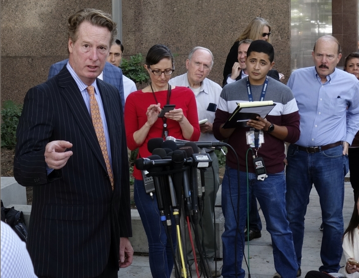"""Attorney David M. Ring, left, answers questions during a news conference in downtown Los Angeles on Friday, Oct, 20, 2017, about his client, an Italian actress who has accused Harvey Weinstein of rape. Ring said it has had a """"humongous impact on her life"""" and she is extremely scared. Ring also told reporters that his client met Weinstein briefly at the L.A. Italia film festival in 2013 and he then bullied his way into her hotel room. (AP Photo/Brian Melley)"""