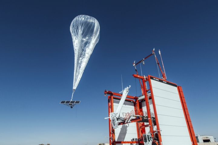 "This Wednesday, Oct. 18, 2017 photo provided by Project Loon shows a stratospheric balloon taking off for Puerto Rico from the project site in Winnemucca, Nev. Google's parent Alphabet Inc. said Friday that its stratospheric balloons are now delivering the internet to remote areas of Puerto Rico where cellphone towers were knocked out by Hurricane Maria. Two of the search giant's ""Project Loon"" balloons are already over the country enabling texts, emails and basic web access to AT&T customers with handsets that use its 4G LTE network. (Project Loon via AP)"