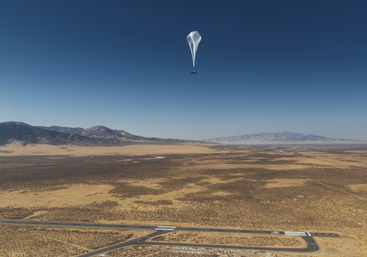 "This Wednesday, Oct. 18, 2017 photo provided by Project Loon shows a stratospheric balloon heading for Puerto Pico after its launch from the project site in Winnemucca, Nev. Google's parent Alphabet Inc. said Friday that its stratospheric balloons are now delivering the internet to remote areas of Puerto Rico where cellphone towers were knocked out by Hurricane Maria. Two of the search giant's ""Project Loon"" balloons are already over the country enabling texts, emails and basic web access to AT&T customers with handsets that use its 4G LTE network. (Project Loon via AP)"