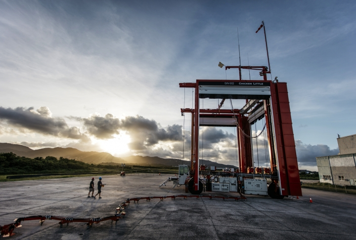 """This undated photo provided by Project Loon shows a stratospheric balloon launch site and crane at the former Roosevelt Roads Naval Station in Ceiba, Puerto Rico. Google's parent Alphabet Inc. said Friday that its stratospheric balloons are now delivering the internet to remote areas of Puerto Rico where cellphone towers were knocked out by Hurricane Maria. Two of the search giant's """"Project Loon"""" balloons are already over the country enabling texts, emails and basic web access to AT&T customers with handsets that use its 4G LTE network. (Project Loon via AP)"""