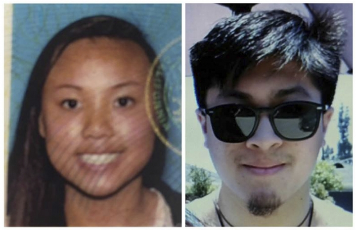 FILE - This combination of photos provided by the National Park Service show Rachel Nguyen, left, and Joseph Orbeso, as they were seeking the public's help in locating them. Southern California authorities say the deaths of Nguyen, and Orbeso, who vanished in Joshua Tree National Park last summer were a murder-suicide. The San Bernardino County Sheriff's Department said Friday, Oct. 20, 2017, that the bodies found Sunday, Oct. 15, were identified as Nguyen and Orbeso, both of Orange County. Autopsies found gunshot wounds, and evidence at the scene that led detectives to believe Orbeso shot Nguyen and then himself. Orbeso's actions remain under investigation. (National Park Service via AP,File)