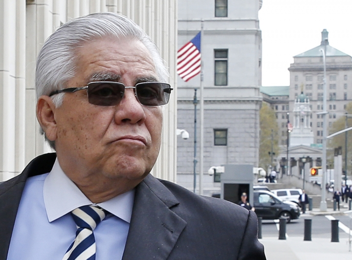 Hector Trujillo, a former judge and former secretary general of the Guatemalan soccer federation, enters Federal Court in Brooklyn for the sentencing phase of his trial in connection with a global FIFA soccer probe, Wednesday, Oct. 25, 2017, in New York. Trujillo pleaded guilty to wire fraud and conspiracy in June. (AP Photo/Kathy Willens)