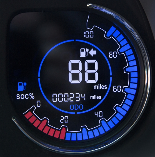 The speedometer of the Chanje V8070 electric medium-duty truck is displayed, Thursday, Nov. 2, 2017, in New York. The vehicle can carry a load of up to 6,000 pounds for a distance of about 100 miles on a single charge. (AP Photo/Mark Lennihan)