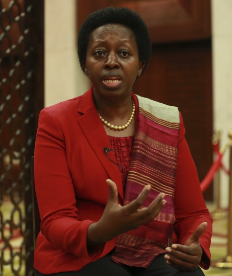 Assistant Secretary-General and Deputy Executive Director of UN-Habitat Dr. Aisa Kirabo Kacyira gives an interview to The Associated Press, in Baghdad, Iraq, Tuesday, Nov. 7, 2017. Kacyira said the fight against the Islamic State group has left behind massive destruction in Iraq and enormous planning and investment are needed for rebuilding. (AP Photo/Hadi Mizban)