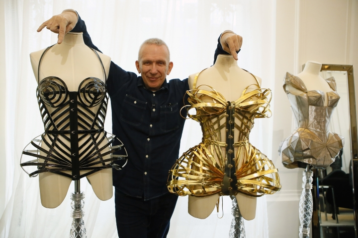 "French designer Jean Paul Gaultier poses during an interview with the Associated Press in Paris, France, Wednesday, Nov. 8, 2017. The 65-year-old French couturier announced that a racy, music-filled ""show"" with all the corsets, sparkle and provocation is in the works for October 2018, retelling his colorful life. (AP Photo/Francois Mori),"