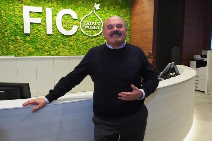 In this photo taken on Thursday, Nov. 9, 2017, Italian entrepreneur Oscar Farinetti at the 'FICO Eataly World', 'La Fabbrica Italiana Contadina' ('The Italian Farmer Factory') agri-food park in Bologna, Italy. The man behind the Eataly Italian food empire wants to do for the high-end of Italian food what Milan Fashion Week has done for Italy's ready-to-wear industry: Create a global showcase for excellence that stimulates demand across the sector. (Giorgio Benvenuti/ANSA via AP)