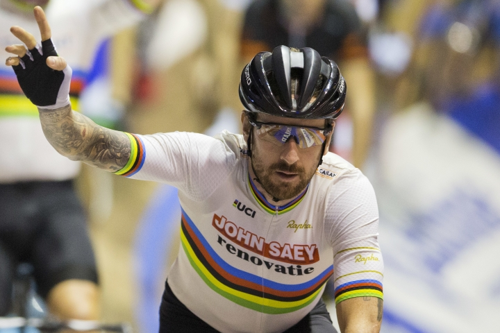 FILE - In this Sunday, Nov. 20, 2016 file photo, former Tour de France winner and Olympic Gold medalist Britain's Bradley Wiggins greets spectators prior to competing in the six day race at the Kuipke velodrome in Ghent, Belgium. Britain's anti-doping agency says Wednesday Nov. 15, 2017, it won't bring any charges over the medical package dispatched to star Team Sky rider Bradley Wiggins after the investigation was hampered by the lack of accurate records held by cycling authorities. (AP Photo/Peter Dejong, File)