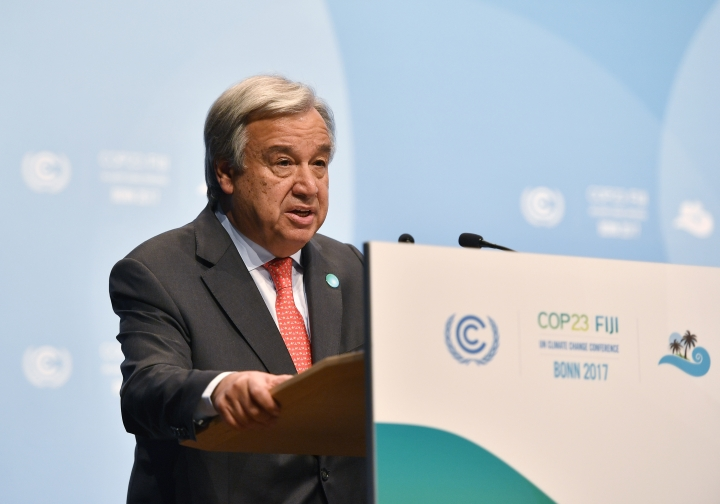 UN Secretary General Antonio Guterres delivers a speech during the 23rd Conference of the Parties (COP) climate talks in Bonn, Germany, Wednesday, Nov. 15, 2017. World leaders arrive at the global climate talks in Germany on Wednesday to give the negotiations a boost going into the final stretch. (AP Photo/Martin Meissner)