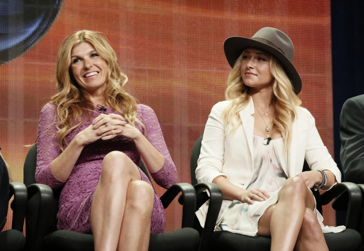 """FILE - In this July 27, 2012 file photo, cast members Connie Britton and Hayden Panettiere attend the """"Nashville"""" panel at the Disney ABC TCA in Beverly Hills, Calif. The country music series """"Nashville"""" will return for its sixth and final season in January, ending a show that had to handle the jump to another network and the loss of a key star. Cancelled by ABC after four seasons, """"Nashville"""" jumped to CMT but creators are now pulling the plug after more than 120 episodes, citing """"creative"""" reasons. (Photo by Todd Williamson/Invision/AP, File)"""