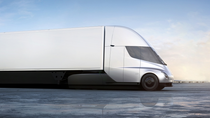 This photo provided by Tesla shows the front of the new electric semitractor-trailer unveiled on Thursday, Nov. 16, 2017. The move fits with Tesla CEO Elon Musk's stated goal for the company of accelerating the shift to sustainable transportation. (Tesla via AP)
