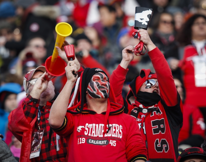 Calgary Stampeders' fans cheer their team during first quarter CFL West Final football action against the Edmonton Eskimos in Calgary, Sunday, Nov. 19, 2017. (Todd Korol/The Canadian Press via AP)