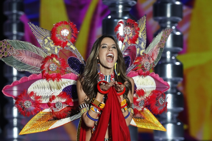Model Alessandra Ambrosio wears a creation during the Victoria's Secret fashion show at the Mercedes-Benz Arena in Shanghai, China, Monday, Nov. 20, 2017. (AP Photo/Andy Wong)
