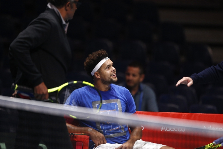 Wilfried Tsonga of France smiles during a training session at the Pierre Mauroy stadium in Lille, northern France, Wednesday, Nov.22, 2017. France will face Belgium in the Davis Cup final starting next Friday. (AP Photo/Michel Spingler)