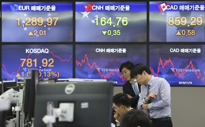 Currency traders watch monitors at the foreign exchange dealing room of the KEB Hana Bank headquarters in Seoul, South Korea, Thursday, Nov. 23, 2017. Asian stock markets were largely flat on Thursday with investors in the U.S. markets going on a Thanksgiving holiday and the Fed minutes largely in line with investor expectations that the Fed will soon raise interest rates for a third time next month. (AP Photo/Ahn Young-joon)