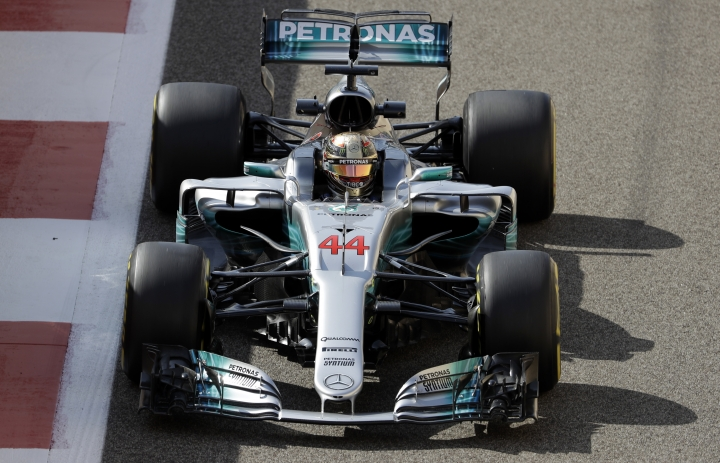 Mercedes driver Lewis Hamilton of Britain steers his car during the first free practice at the Yas Marina racetrack in Abu Dhabi, United Arab Emirates, Friday, Nov. 24, 2017. The Emirates Formula One Grand Prix will take place on Sunday. (AP Photo/Luca Bruno)