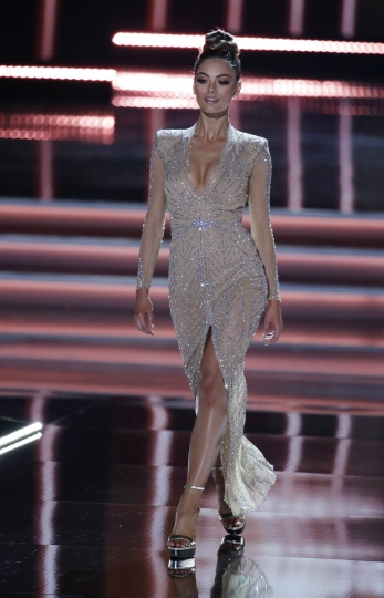 Miss South Africa Demi-Leigh Nel-Peters competes at the Miss Universe pageant Sunday, Nov. 26, 2017, in Las Vegas. (AP Photo/John Locher)