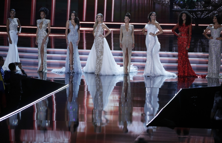 Contestants stand on stage during the Miss Universe pageant Sunday, Nov. 26, 2017, in Las Vegas. (AP Photo/John Locher)
