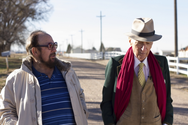 "This image released by Netflix shows Gerald Foos, a former Colorado motel owner who spied on his guests, left, celebrated writer Gay Talese in the documentary ""Voyeur,"" by filmmakers Myles Kane and Josh Koury. (Cris Moris/Netflix via AP)"