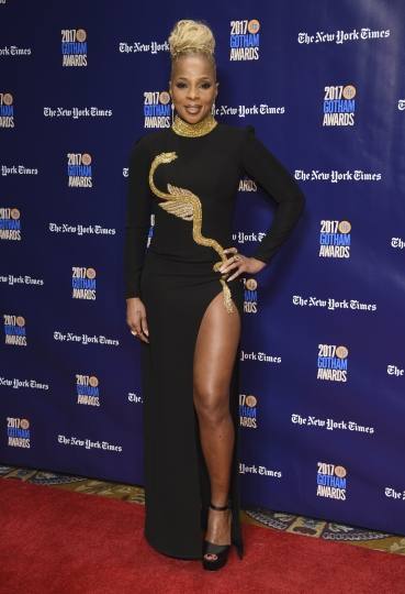 Mary J. Blige arrives at the 27th annual Independent Film Project's Gotham Awards at Cipriani Wall Street on Monday, Nov. 27, 2017, in New York. (Photo by Evan Agostini/Invision/AP)